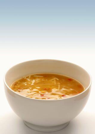 noodle soup: Chicken noodle soup in a soup bowl