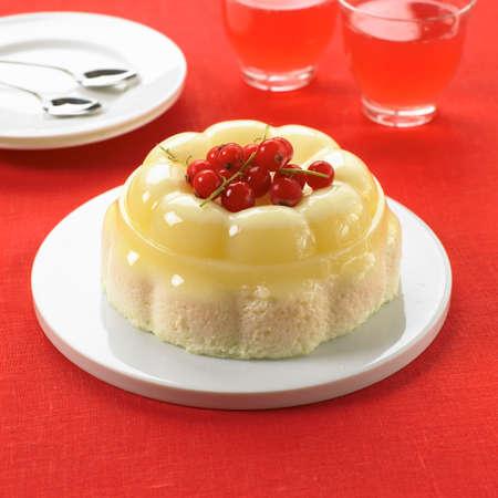 blancmange: Moulded vanilla blancmange on sponge
