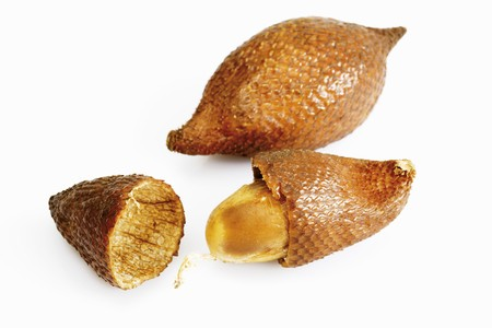 salak: Two salak fruits, one opened