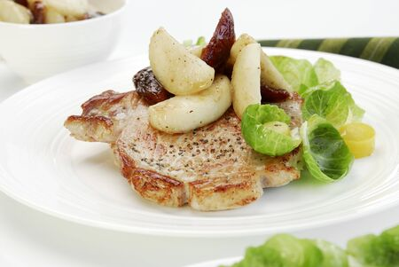 substantial: Pork chop with potatoes and dates