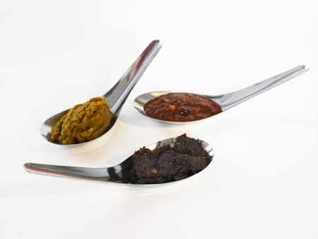 pastes: Three Asian spice pastes on spoons LANG_EVOIMAGES