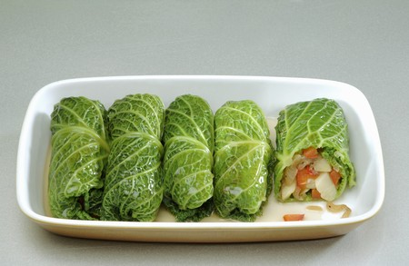 stuffing: Stuffed savoy cabbage leaves with vegetable stuffing