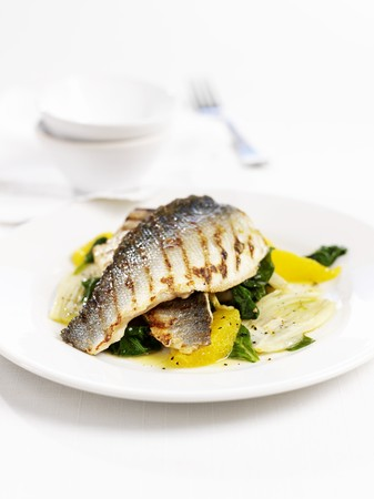 substantial: Grilled sea bass on spinach with oranges