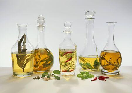 flavoured: Five different flavoured vinegars