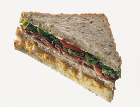 knock out: Double-decker egg, ham & lettuce sandwich in granary bread