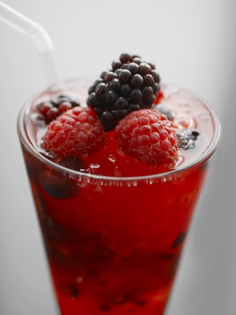 A glass of berry cocktail