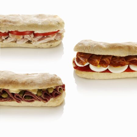several breads: Sandwiches with three different fillings