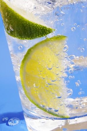 acqua di seltz: Una bevanda con acqua di soda, limone e ghiaccio LANG_EVOIMAGES