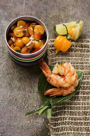 substantial: Chilli prawns with physalis and tomato salsa