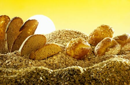 Stylised landscape in bread and cereals