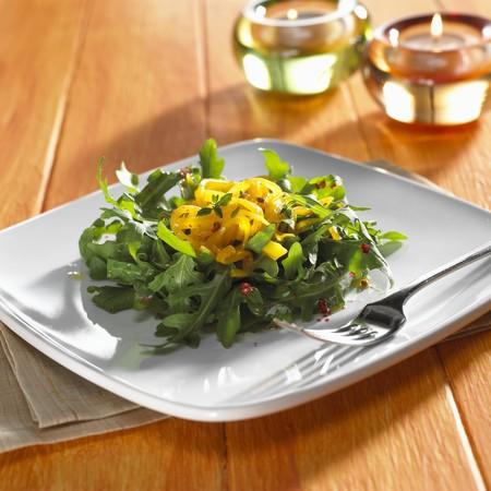arugola: Pumpkin pasta on rocket salad
