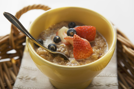 macerated: Porridge with milk and berries on tray LANG_EVOIMAGES