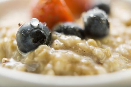 macerated: Porridge with berries, close-up
