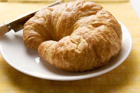 pastes: A croissant on a plate LANG_EVOIMAGES