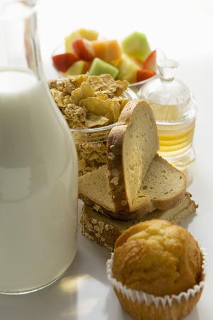 baked  goods: Breakfast ingredients: baked goods, muesli, fruit, milk, honey
