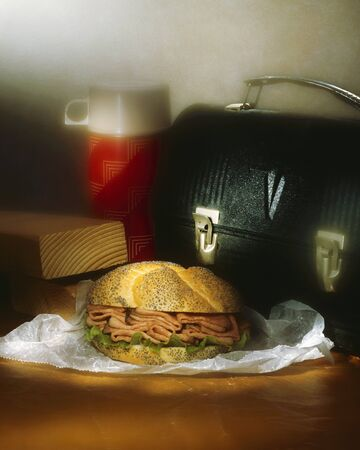 substantial: Roast Beef Sandwich on a Poppy Seed Bun; Lunchbox and Thermos