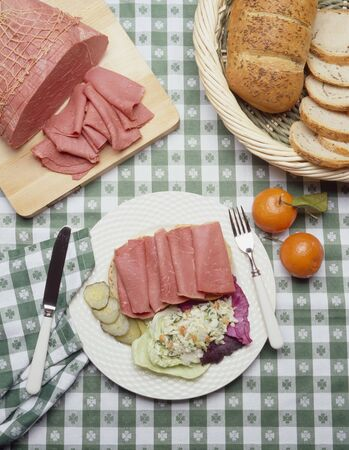 substantial: Sliced Corned Beef on a Plate with Cole Slaw on Shamrock Tablecloth LANG_EVOIMAGES