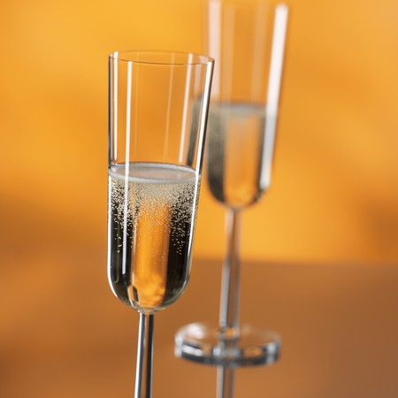 champers: Two glasses of sparkling wine