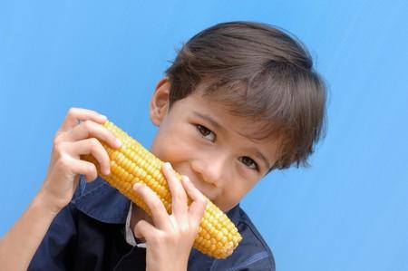 corncob: Small boy biting into a corncob LANG_EVOIMAGES