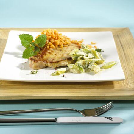 creamed: Fried chop with creamed leeks