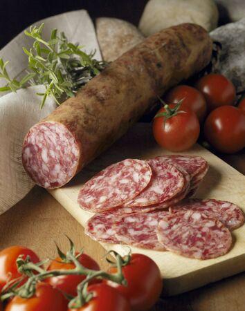 air dried salami: Still life with salchichon (salami, Spain)