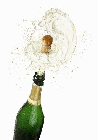 popping cork: Cork flying out of a sparkling wine bottle