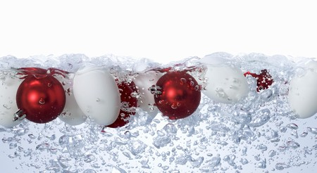 no movement: Eggs and Christmas baubles in bubbling water