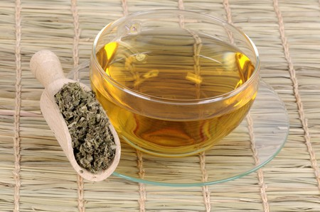 nature cure: A cup of tea made with dried Chinese mugwort LANG_EVOIMAGES