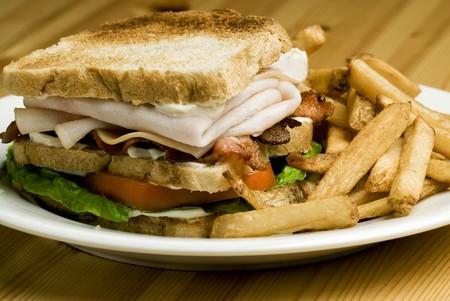 ham sandwich: Panino al prosciutto di tacchino con patatine