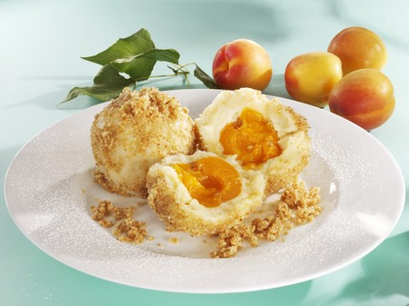 buttered: Apricot dumplings with buttered breadcrumbs