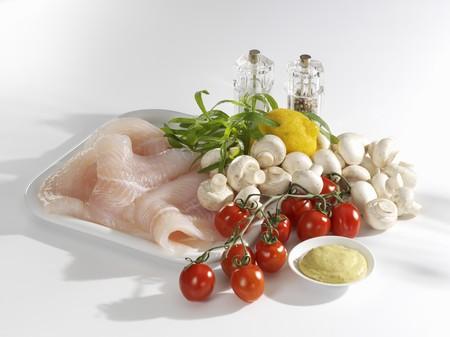 filete de pescado: Ingredientes para el filete de pescado con verduras