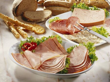 several breads: Cold cuts platters with bread