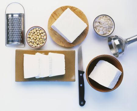 kitchen tools: Tofu, soya beans and various kitchen tools