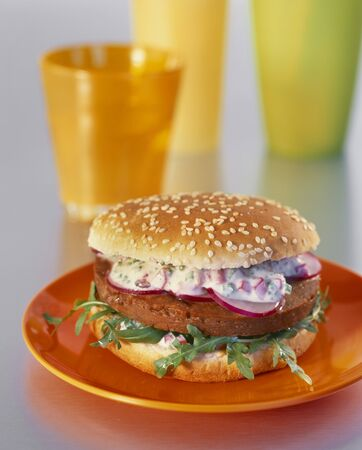 food: Burger with rocket and radishes