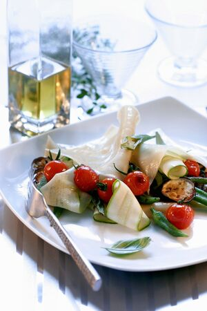 lean out: Sheets of lasagne with courgettes, cherry tomatoes & aubergines