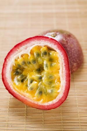 halved: Purple granadilla (passion fruit), halved