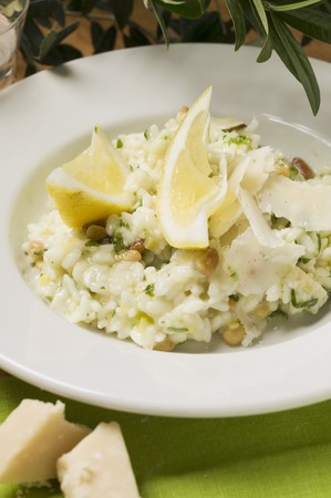 pine kernels: Lemon risotto with herbs, pine nuts and Parmesan