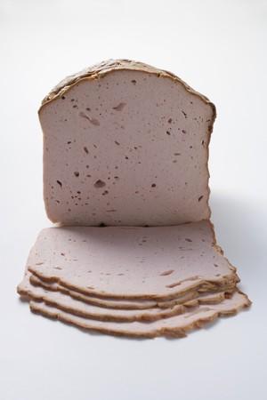 albondigas: Leberkse (un tipo de pastel de carne), en parte, en rodajas