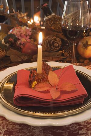 ignited: Festive place-setting with candle for Thanksgiving (USA) LANG_EVOIMAGES