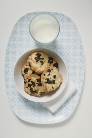 choco chips: Chocolate chip peanut cookies and glass of milk