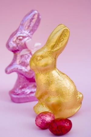 oeufs en chocolat: Deux lapins de P�ques et deux ?ufs en chocolat