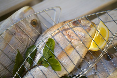 sea bream: Fresh sea bream with bay leaves & lemon, for grilling