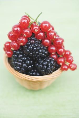 brambleberries: Blackberries and redcurrants in basket