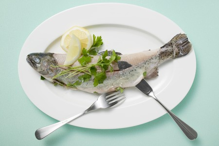 salmo trutta: Trout with parsley, lemon and fish knife and fork on plate LANG_EVOIMAGES