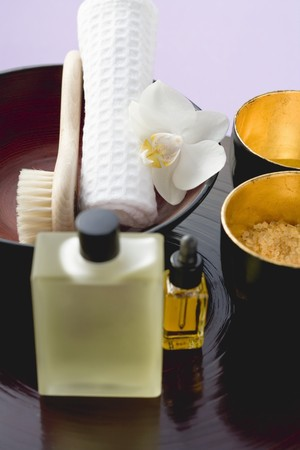 nature cure: Bath products, towel, orchid and brush LANG_EVOIMAGES