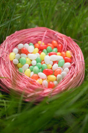 sweet grasses: Easter nest full of coloured sugar eggs in grass