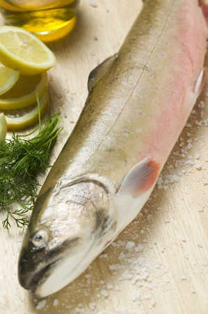 salmo trutta: Fresh salmon trout, salt, dill and lemons