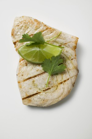 barbecues: Grilled swordfish steak with lime and coriander leaves