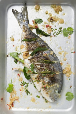 gilthead bream: Roasted gilthead bream with lemon grass & coriander leaves