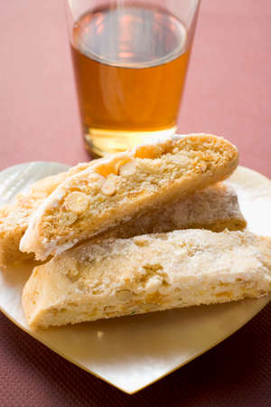 vin: Cantucci (Italian almond biscuits) and glass of Vin Santo